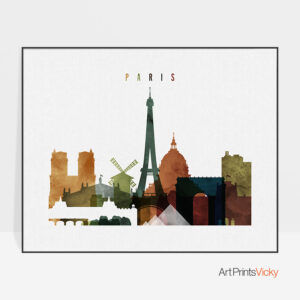 Paris poster watercolor 3 landscape