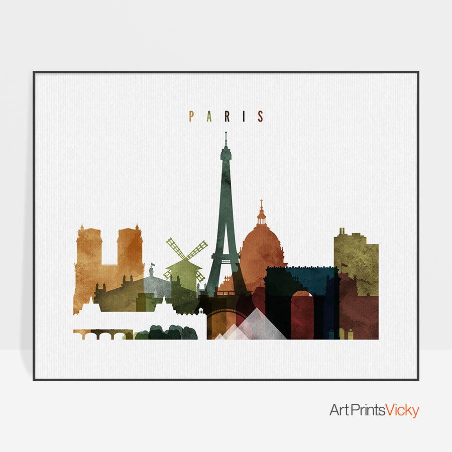 Paris poster watercolor 3 landscape