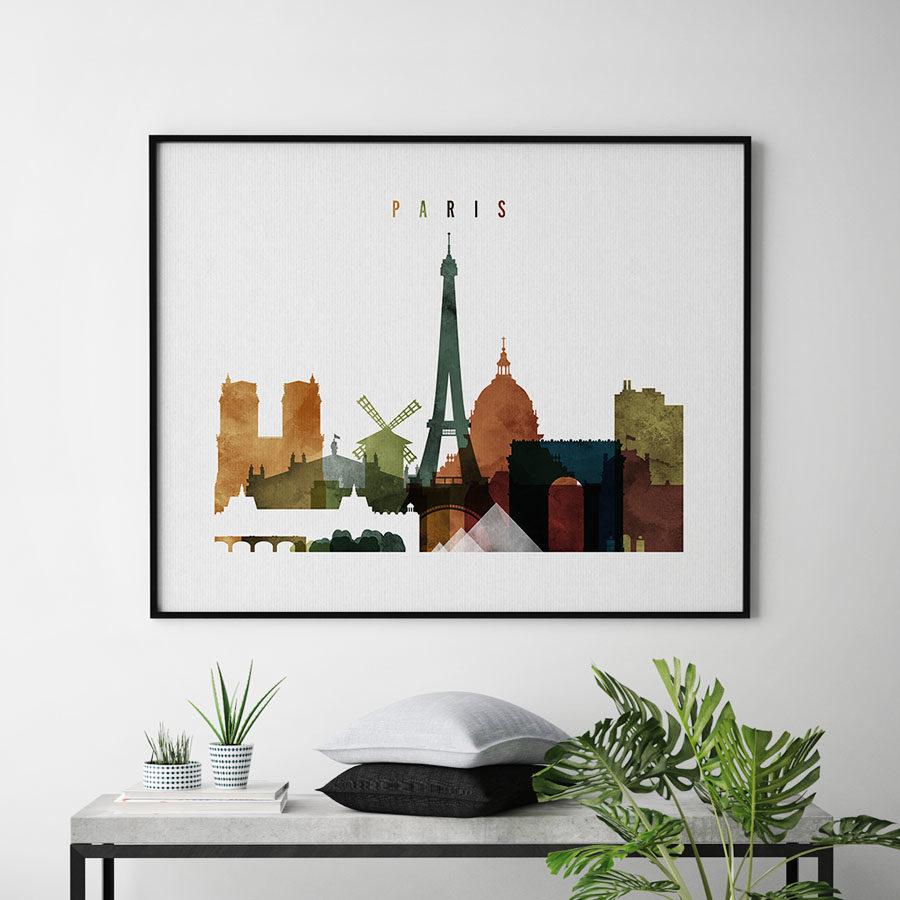 Paris poster watercolor 3 landscape second