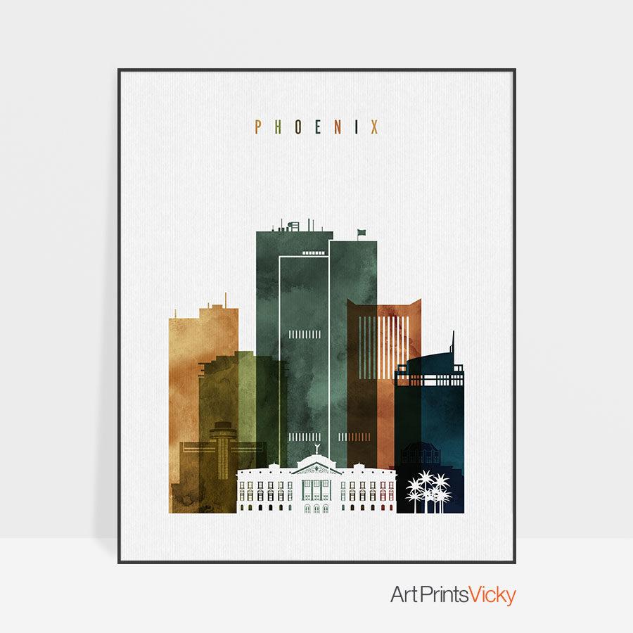 Phoenix city print watercolor 3