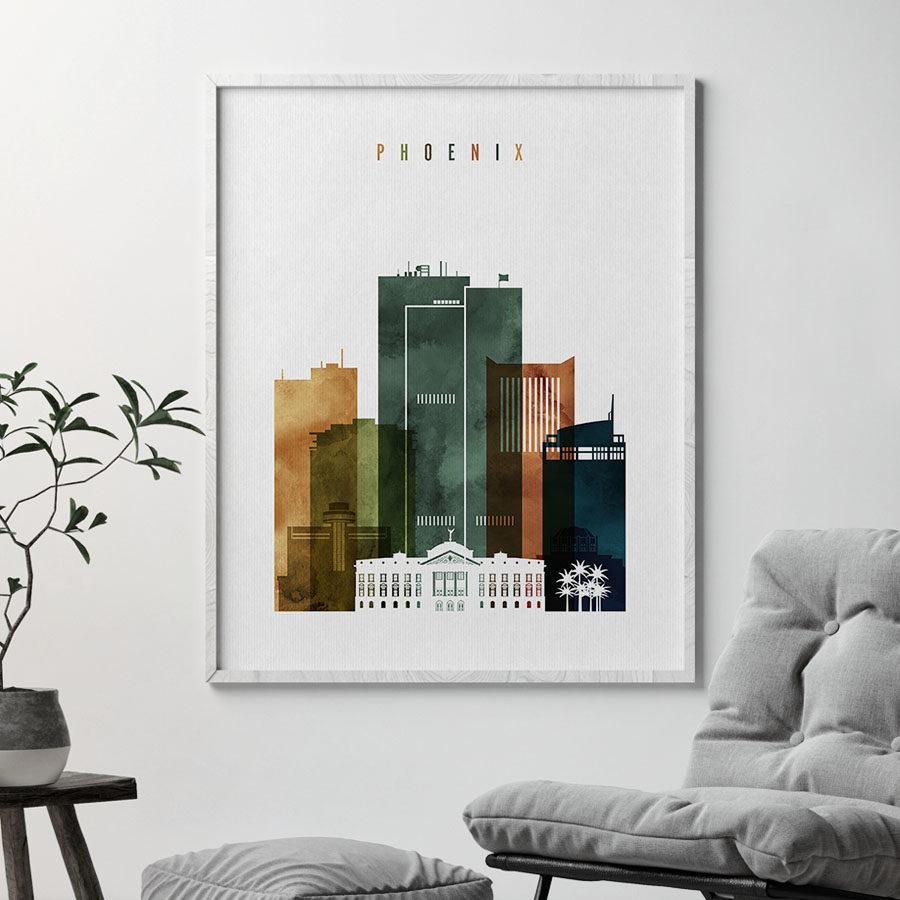 Phoenix city print watercolor 3 second
