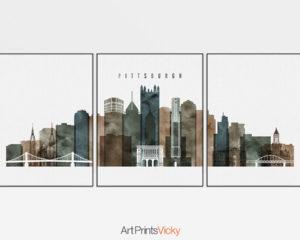 Pittsburgh 3 prints set watercolor 2