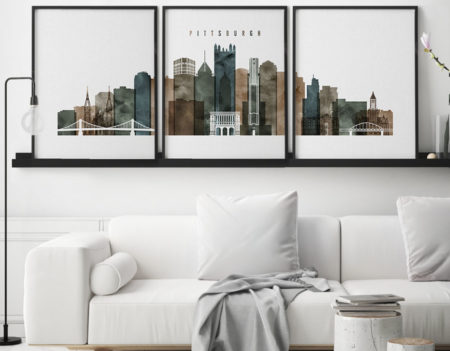 Pittsburgh 3 prints set watercolor 2 second