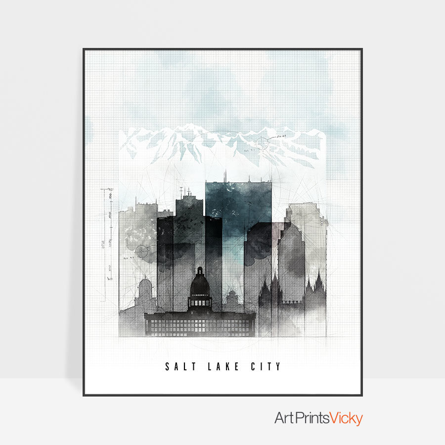 Salt Lake City urban print
