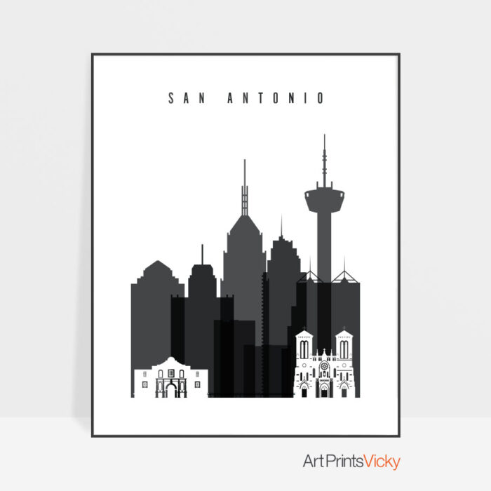 San Antonio print black and white