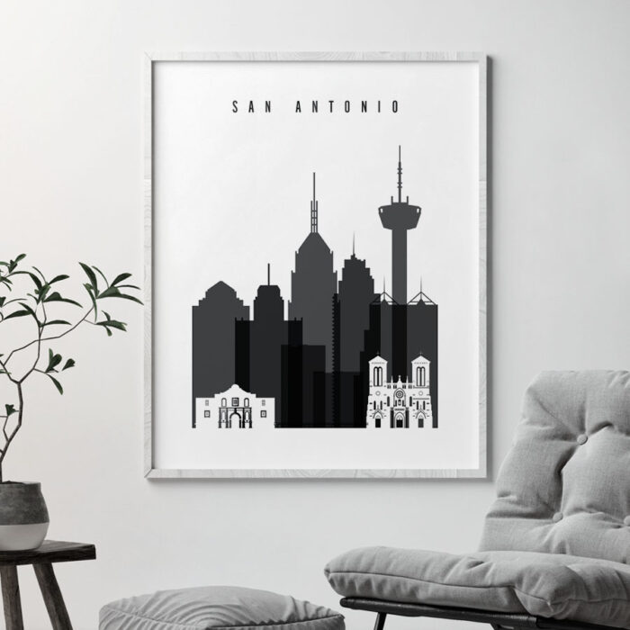San Antonio print black and white second
