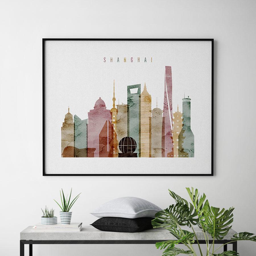Shanghai poster watercolor 1 landscape second