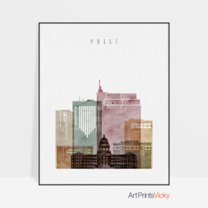 boise skyline art print watercolor 1