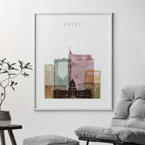 boise skyline art print watercolor 1 second