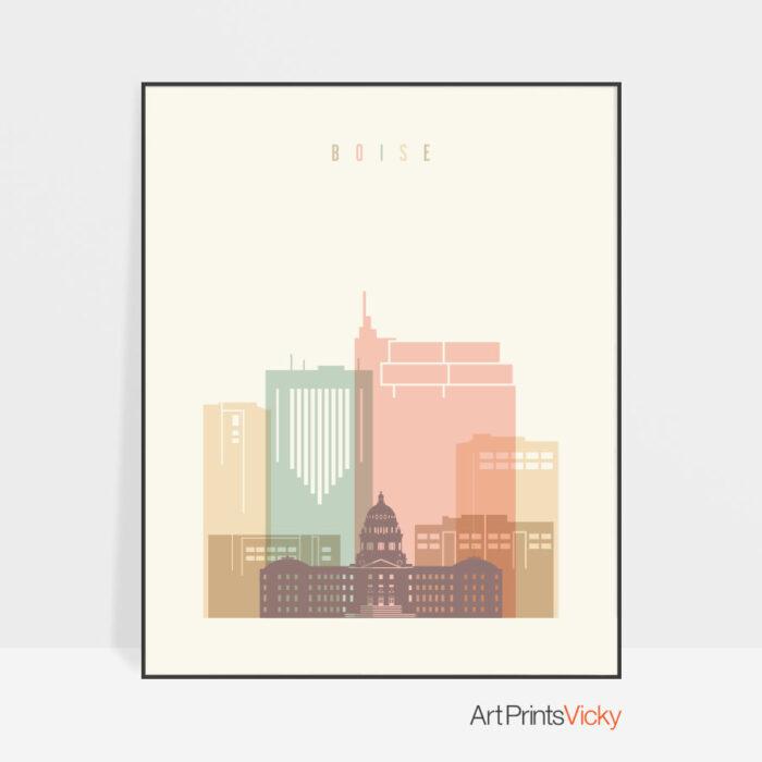 boise-art-print-skyline-pastel-cream