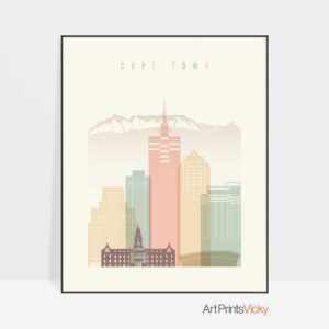 cape-town-art-print-skyline-pastel-cream
