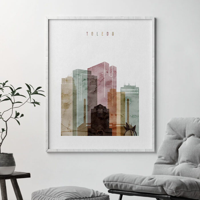 Toledo skyline print watercolor 1 second