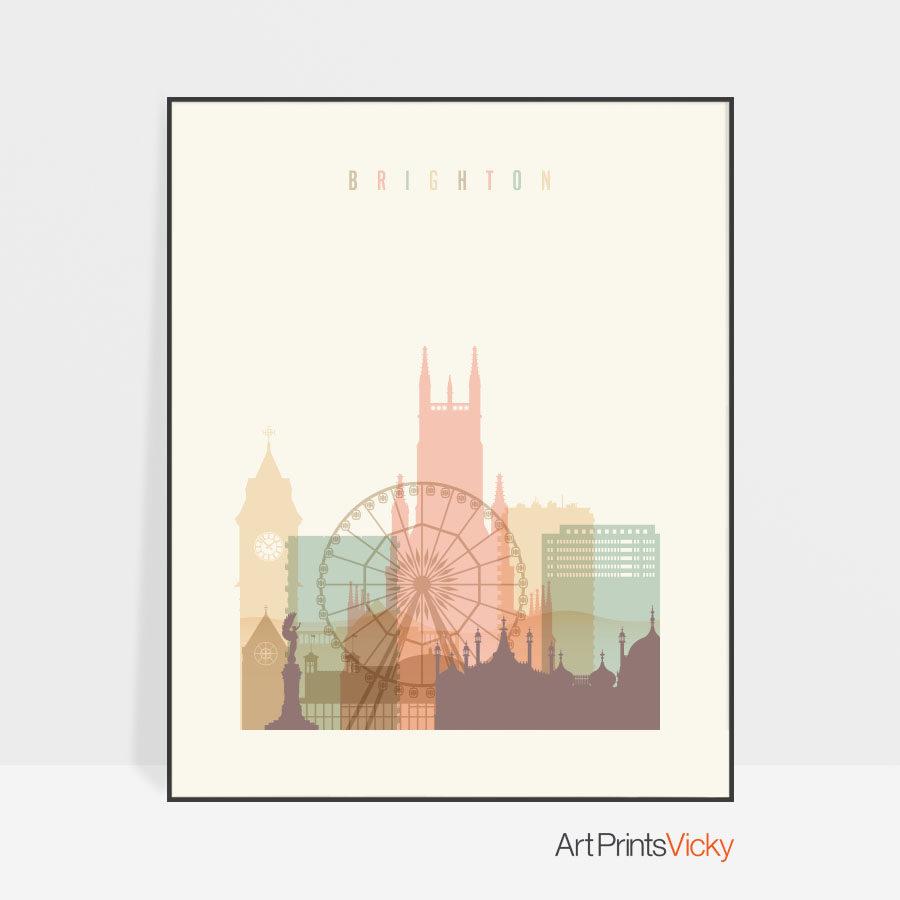 Brighton skyline poster pastel cream
