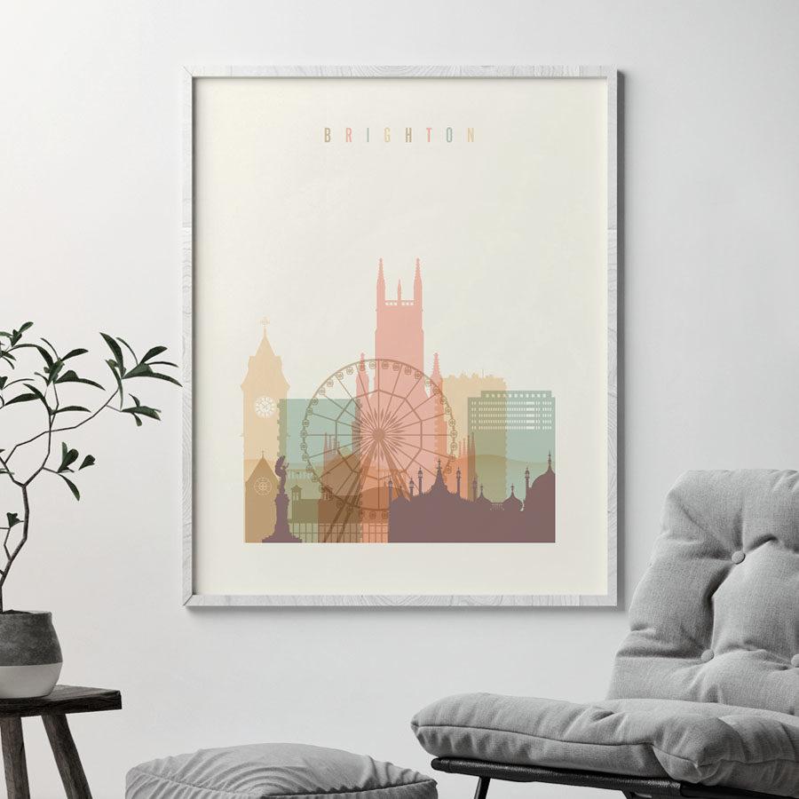 Brighton skyline poster pastel cream second