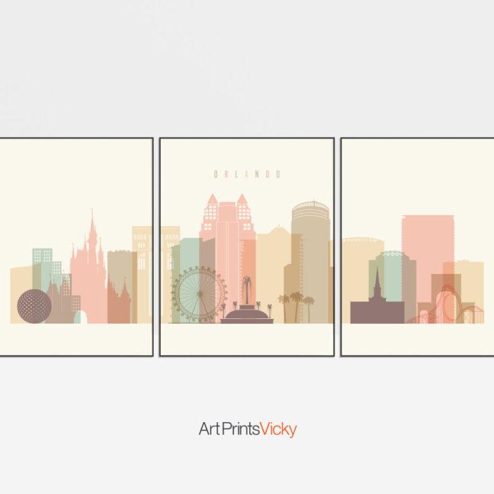 Orlando skyline set of 3 prints pastel cream