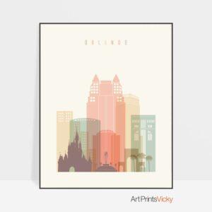 Orlando art print skyline pastel cream