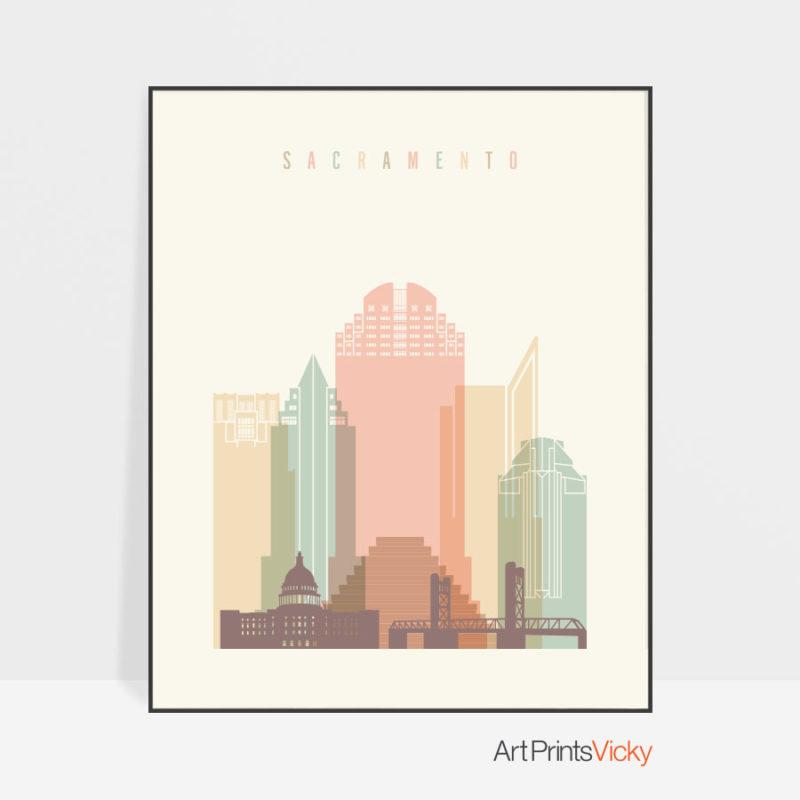 Sacramento art print skyline pastel cream