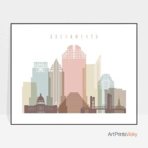 Sacramento poster skyline pastel white landscape