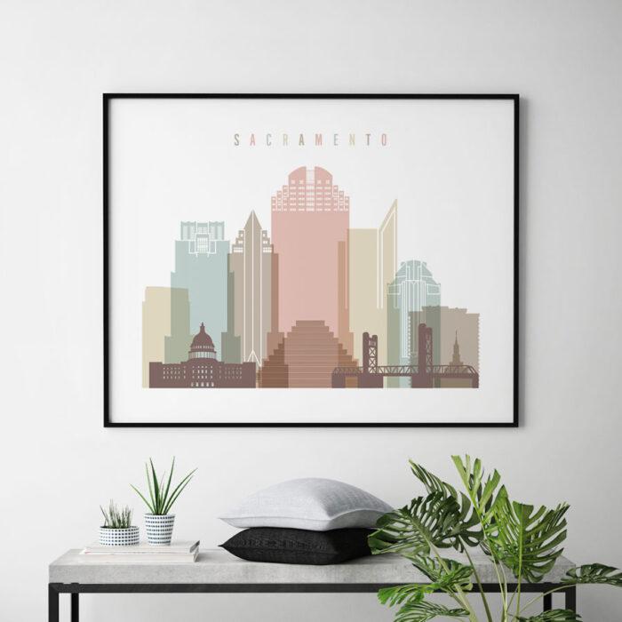 Sacramento poster skyline pastel white landscape second