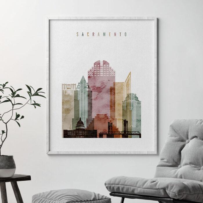 Sacramento skyline art watercolor 1 second