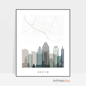 Austin map print earth tones 4