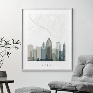 Austin map print earth tones 4 second