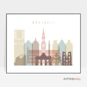 Brussels print pastel white landscape