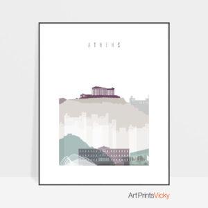 Athens skyline print pastel 2