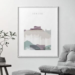 Athens skyline print pastel 2 second