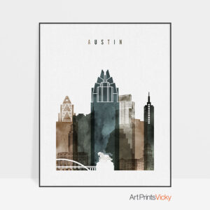 Austin skyline print watercolor 2