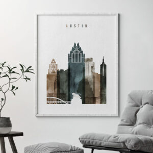 Austin skyline print watercolor 2 second