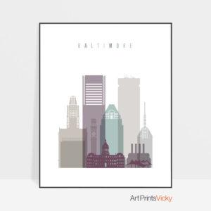 Baltimore skyline print pastel 2