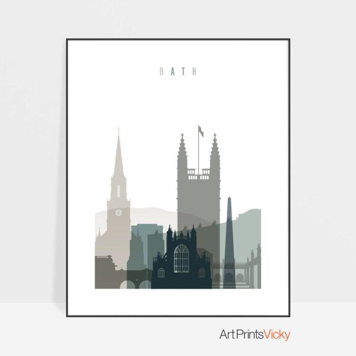 Bath skyline print earth tones 4