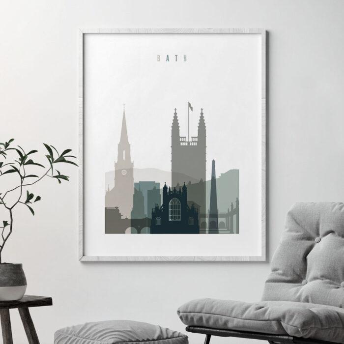 Bath skyline print earth tones 4 second