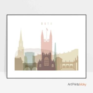 Bath UK poster landscape pastel white