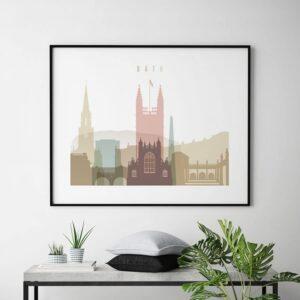 Bath UK poster landscape pastel white second