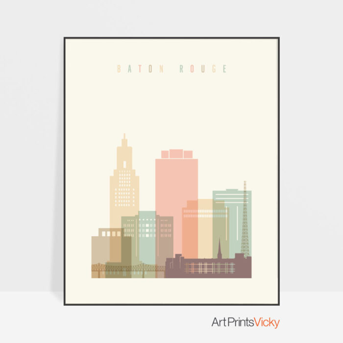 Baton Rouge skyline print pastel cream