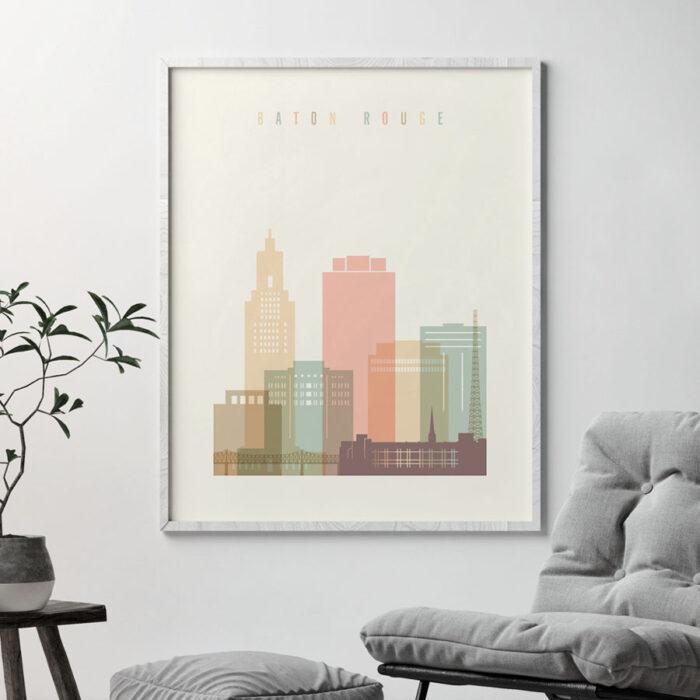 Baton Rouge skyline print pastel cream second