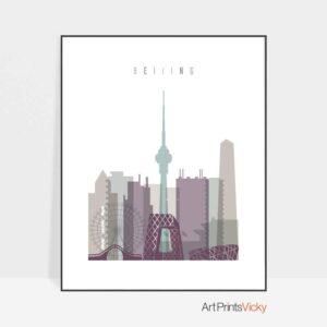 Beijing skyline poster pastel 2