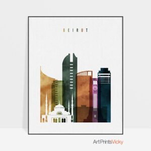 Beirut skyline print watercolor 3