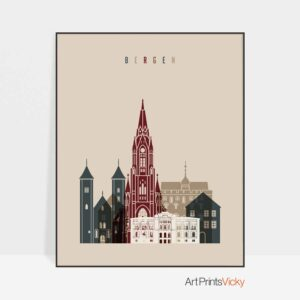 Bergen skyline print earth tones 2