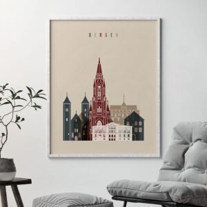 Bergen skyline print earth tones 2 second