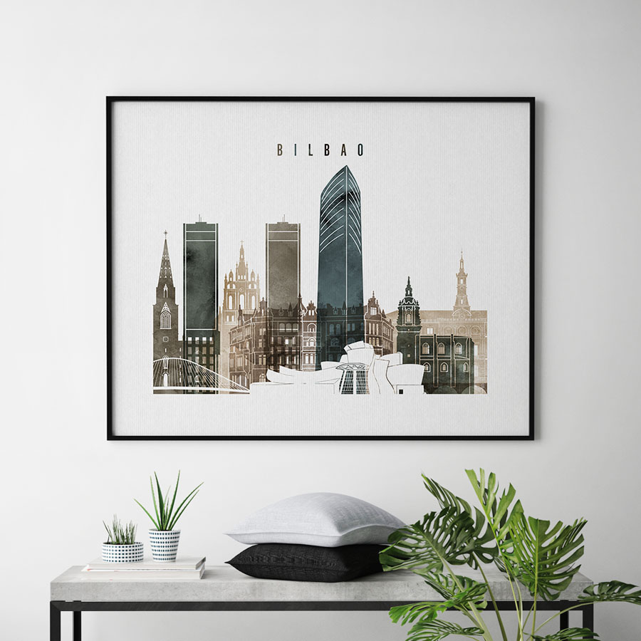 Bilbao skyline print watercolor 2 second