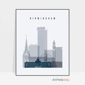 Birmingham skyline poster grey blue