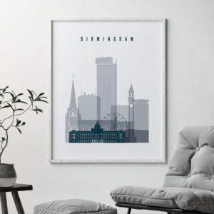 Birmingham skyline poster grey blue second