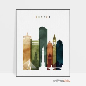 Boston skyline print watercolor 3