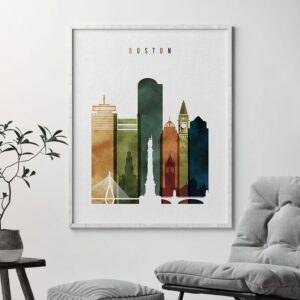 Boston skyline print watercolor 3 second