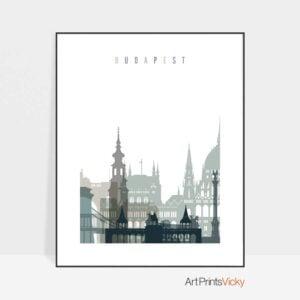 Budapest skyline print earth tones 4