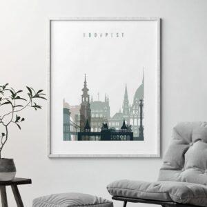 Budapest skyline print earth tones 4 second