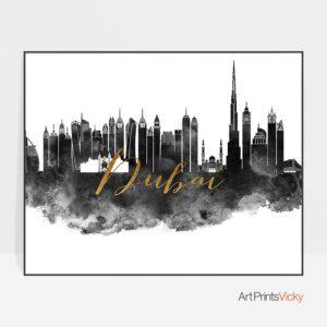 Dubai poster black white gold